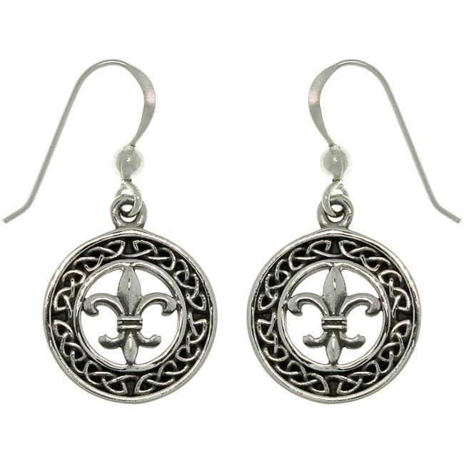 Carolina Glamour Collection Sterling Silver Celtic Knot Fleur De Lis Earrings