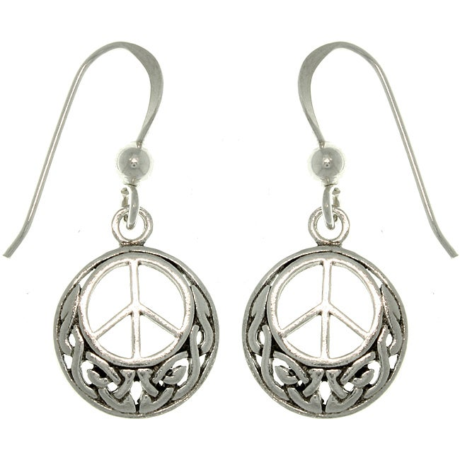 Carolina Glamour Collection Sterling Silver Celtic Peace Sign Earrings
