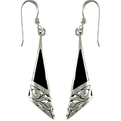 Carolina Glamour Collection Sterling Silver Black Onyx Filigree Earrings