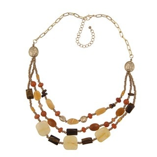 Alexa Starr Goldtone Three-Row Gemstone Bib Necklace