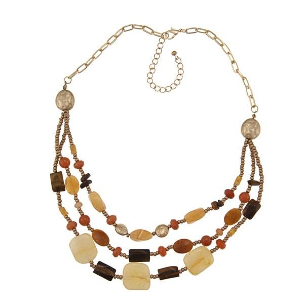 Alexa Starr Goldtone Three-Row Gemstone Bib Necklace