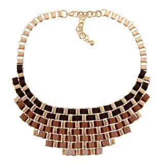 Nexte Jewelry Goldtone Brown Ribbon Fashion Bib Necklace