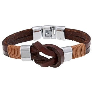 Nexte Jewelry Silvertone Brown Leather Knot Bracelet