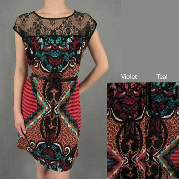 Tabeez Women's Boho Print Belted Dress