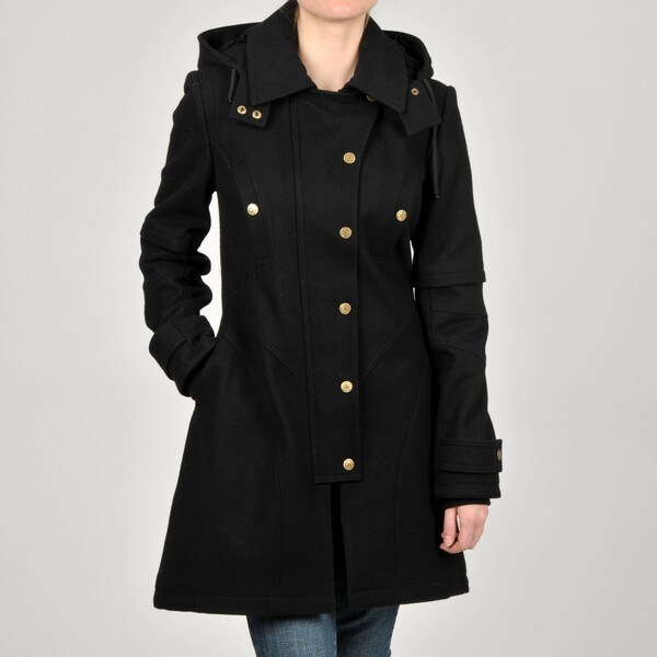 Betsey Johnson Black Wool-blend Hooded Coat
