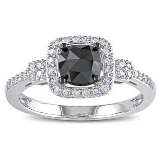 Miadora 14k White Gold 1ct TDW Cushion-cut Black and White Diamond Halo Ring (G-H, I1-I2) with Bonus Earrings