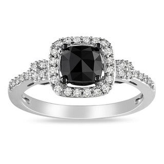 Miadora 14k White Gold 1ct TDW Cushion-cut Black and White Diamond Halo Ring (G-H, I1-I2)