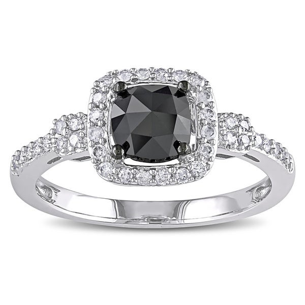 Miadora 1 CT Black and White Cushion and Round Diamonds TW Fashion Ring 14k White Gold GH I1;I2 Bla