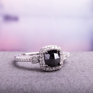 Miadora 1 CT Black and White Cushion and Round Diamonds TW Fashion Ring 14k White Gold GH I1;I2 Black Rhodium Plated