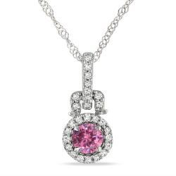 Miadora 14k White Gold 1/4ct TDW Pink and White Diamond Necklace (GH, I)