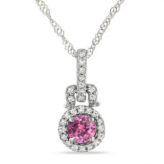 Miadora 14k White Gold 1/4ct TDW Pink and White Diamond Necklace (GH, I)