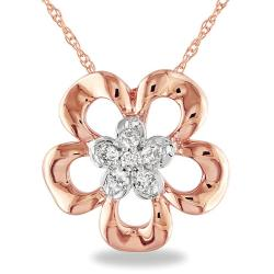 Miadora 10k Two-Tone Gold 1/10ct TDW Diamond Flower Necklace (G-H, I2-I3)