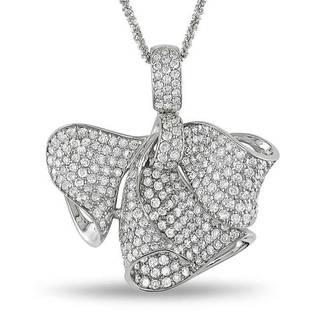 Miadora Signature Collection 18k White Gold 3 1/3ct TDW Diamond 'Bow' Necklace (G-H, SI1-SI2)