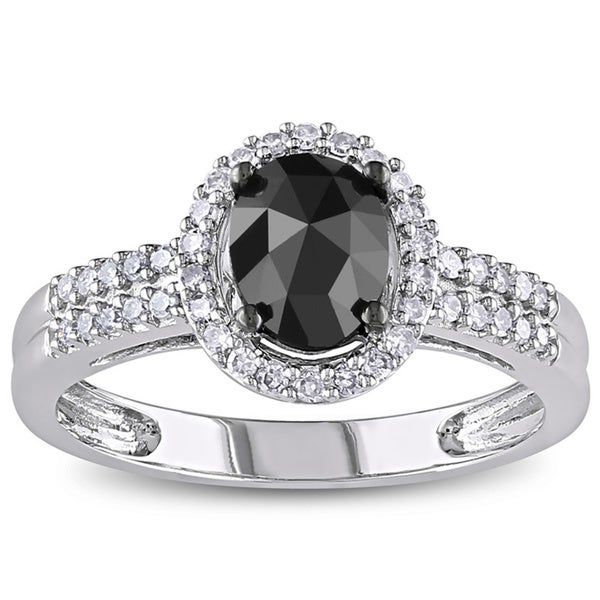 1 CT Black and White Oval and Round Diamonds TW Fashion Ring 14k White Gold GH I1;I2 Black Rhodium Plated