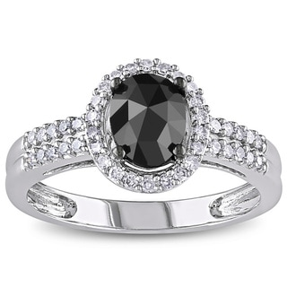 Miadora 14k White Gold 1ct TDW Oval-cut Black and White Diamond Halo Engagement Ring (G-H, I1-I2)