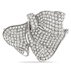 Miadora 18k White Gold 3 1/8ct TDW Diamond Bow Brooch (G-H,SI1-SI2)