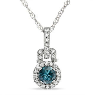 Miadora 14k White Gold 1/4ct TDW Blue and White Diamond Halo Necklace ( I1)