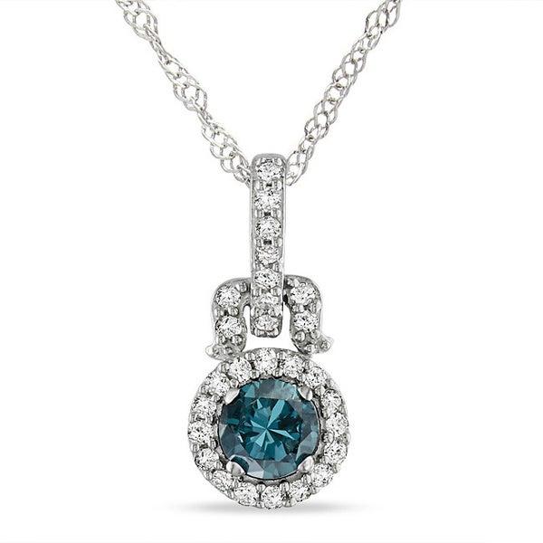 Miadora 14k White Gold 1/4ct TDW Blue and White Diamond Halo Necklace ( I1)