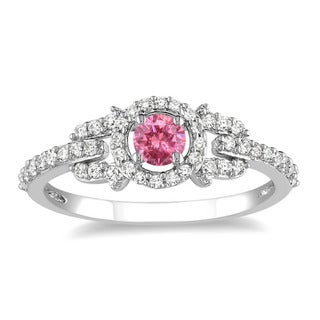 Miadora 14k Gold 1ct TDW Pink and White Diamond Halo Ring (G-H, I1-I2) with Bonus Earrings