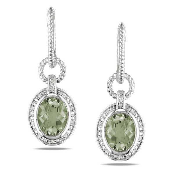 Miadora Sterling Silver Green Amethyst and 1/10ct TDW Diamond Earrings (G-H, I3)