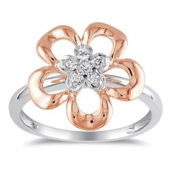 Miadora 10k Gold 1/10ct TDW White Diamond Flower Ring (G-H, I1-I2)