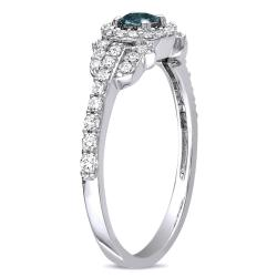 Miadora 14k Gold 1/2ct TDW Blue and White Diamond Halo Ring (G-H, I1-I2)
