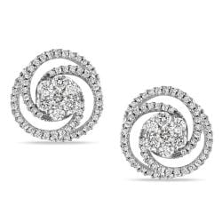 Miadora 14k White Gold 2ct TDW Diamond Swirl Earrings (G-H, SI1-SI2)