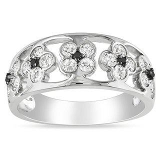 Miadora 14k White Gold 4/5ct TDW Black and White Diamond Floral Band (G-H, SI1-SI2)