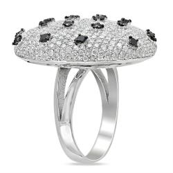 Miadora 18k White Gold 4ct TDW Black and White Diamond Cocktail Ring (G-H, SI)