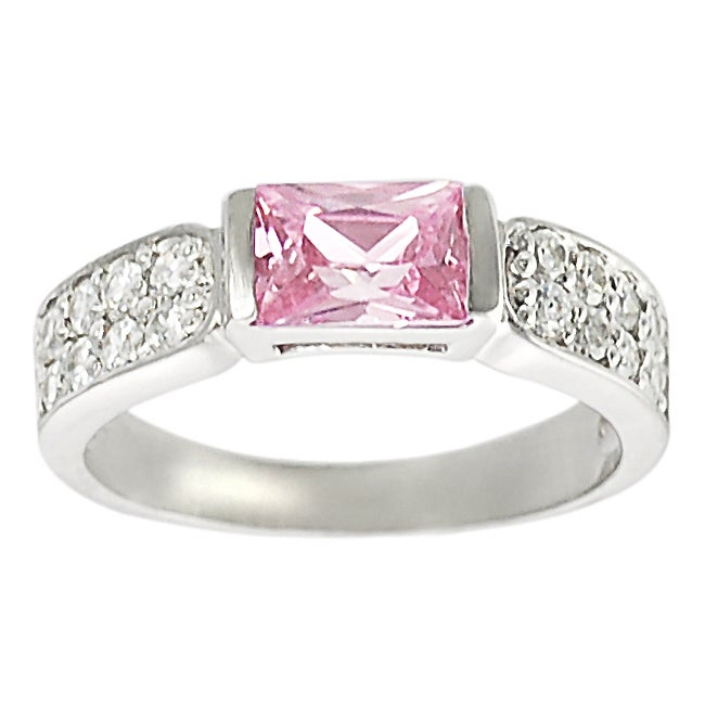 Journee Collection Sterling Silver Pink and White Cubic Zirconia Ring