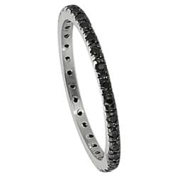 Tressa Sterling Silver Black Stackable Cubic Zirconia Eternity Band