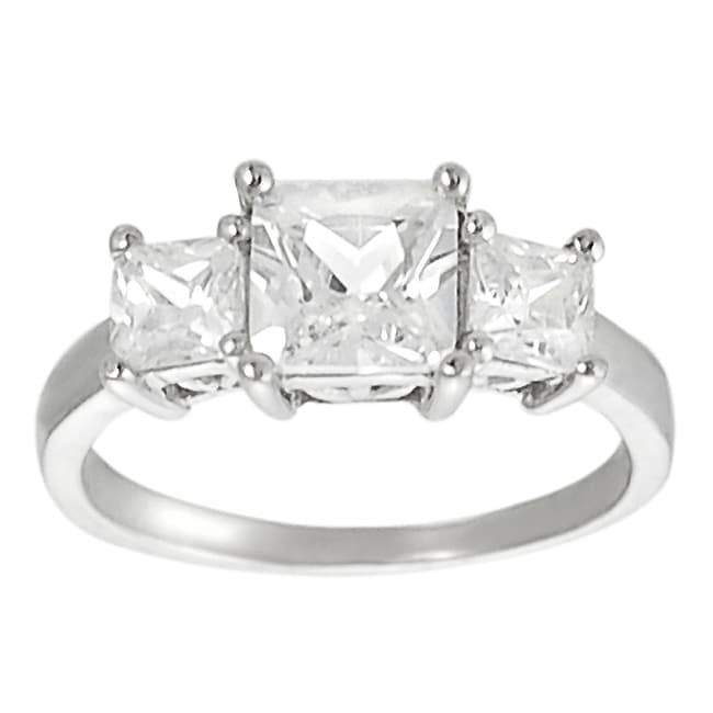 Journee Collection Sterling Silver Square Princess-cut Cubic Zirconia Ring