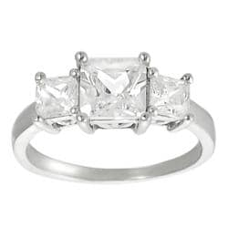 Tressa Sterling Silver Square Princess-cut Cubic Zirconia Ring