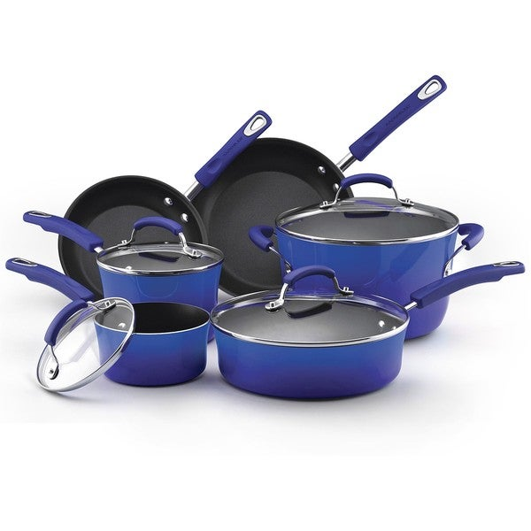 Rachael Ray Hard Enamel Nonstick 10-piece Blue Gradient Cookware Set with $30 Mail-in Rebate