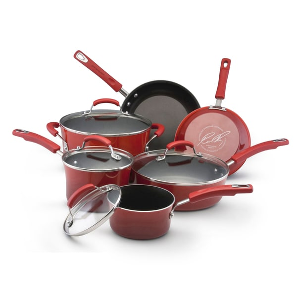 Rachael Ray II Red Porcelain Enamel Nonstick 10-piece Cookware Set with $30 Mail-in Rebate