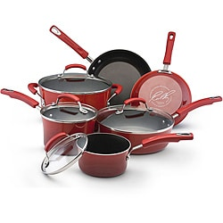Rachael Ray II Red Porcelain Enamel Nonstick 10-piece Cookware Set with Mail-in Rebate