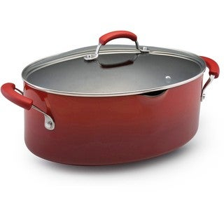 Rachael Ray Hard Enamel Cookware 8-quart Covered Pasta Etc. Pot, Red 2-tone