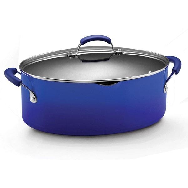 Rachael Ray Hard Enamel Cookware 8-quart Covered Pasta Etc. Pot, Blue 2-tone