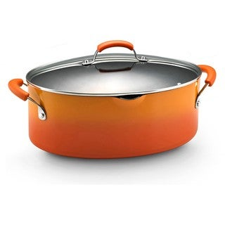 Rachael Ray Hard Enamel Cookware 8-quart Covered Pasta Etc. Pot, Orange 2-tone