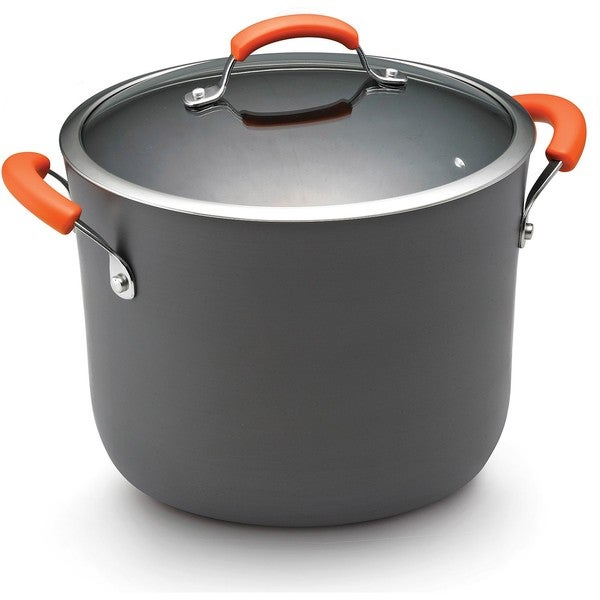 Rachael Ray Hard-anodized Nonstick 10-quart Grey with Orange Handles Covered Stockpot