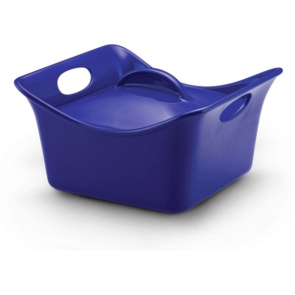 Rachael Ray Blue Stoneware 3.5-quart Covered Square Casserole Dish