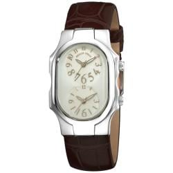 Philip Stein Women's 'Signature' Brown Leather Strap Dual Time Stainless Steel Watch
