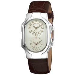 Philip Stein Women's 1-F-FSMOP-ACHS 'Signature' Brown Leather Strap Dual Time Stainless Steel Watch