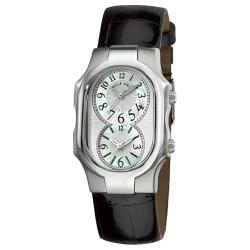 Philip Stein Women's 'Signature' Black Leather Strap Dual Time Watch