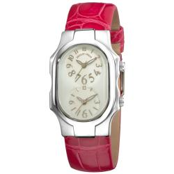Philip Stein Women's 'Signature' Pink Water-Resistant Leather Strap Dual Time Watch