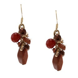 Alexa Starr Goldtone Goldstone Cluster Earrings