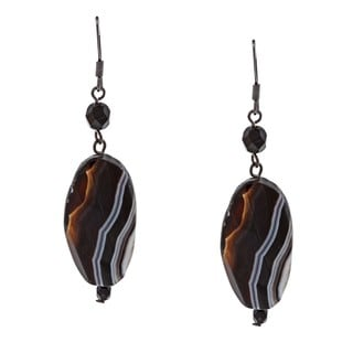 Alexa Starr Black-plated Striped Agate Earrings