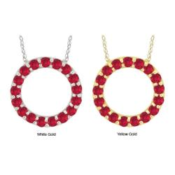 10k Gold 'Crystal' Synthetic Ruby Circle Necklace
