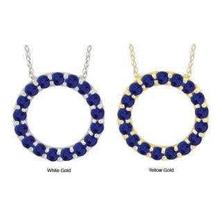 10k Gold Created Blue Sapphire Circle Necklace