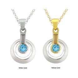 10k Gold Blue Cubic Zirconia Contemporary Necklace
